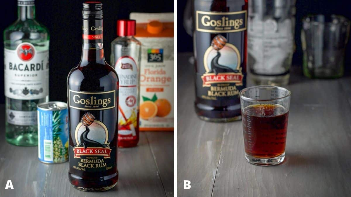 Left - dark rum, clear rum, orange juice, pineapple juice and grenadine. Right - dark rum measured out with the bottle, shaker and glasses in the back