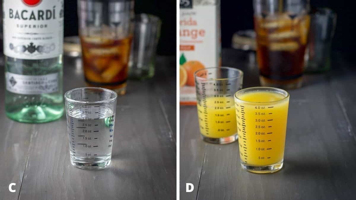 Clear rum and orange juice measured out with the bottles, shaker and glassware in the background