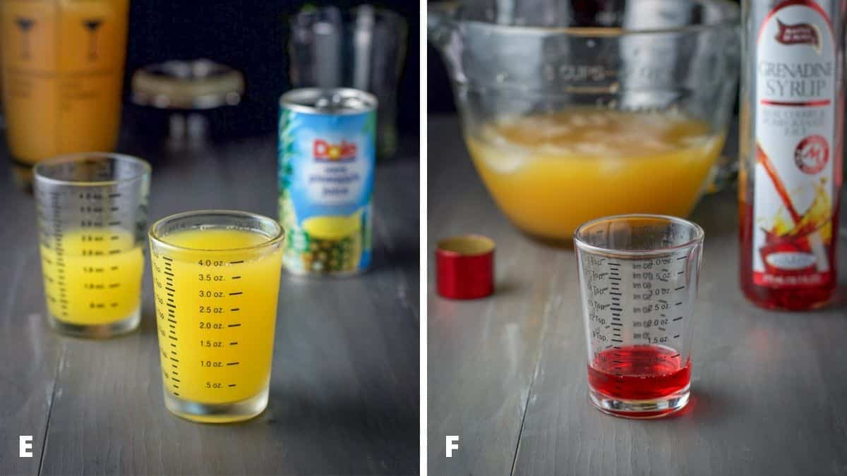 Pineapple juice and grenadine measured out with the bottle and can in the background