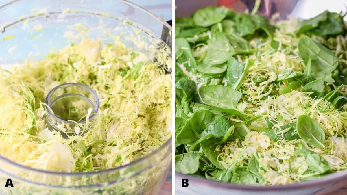 Left - brussel sprouts shredded in a food processor. Right - the shredded sprouts and spinach in a mixing bowl