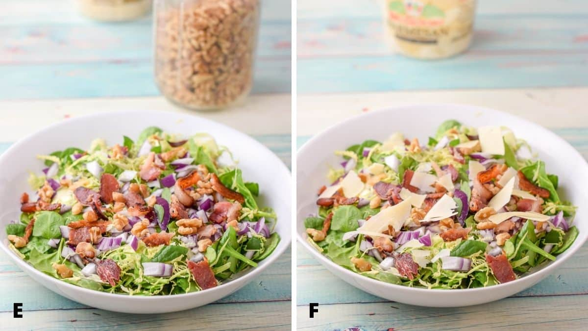 Left - walnuts added to the salad. Right - shaved parmesan on the salad in a white bowl