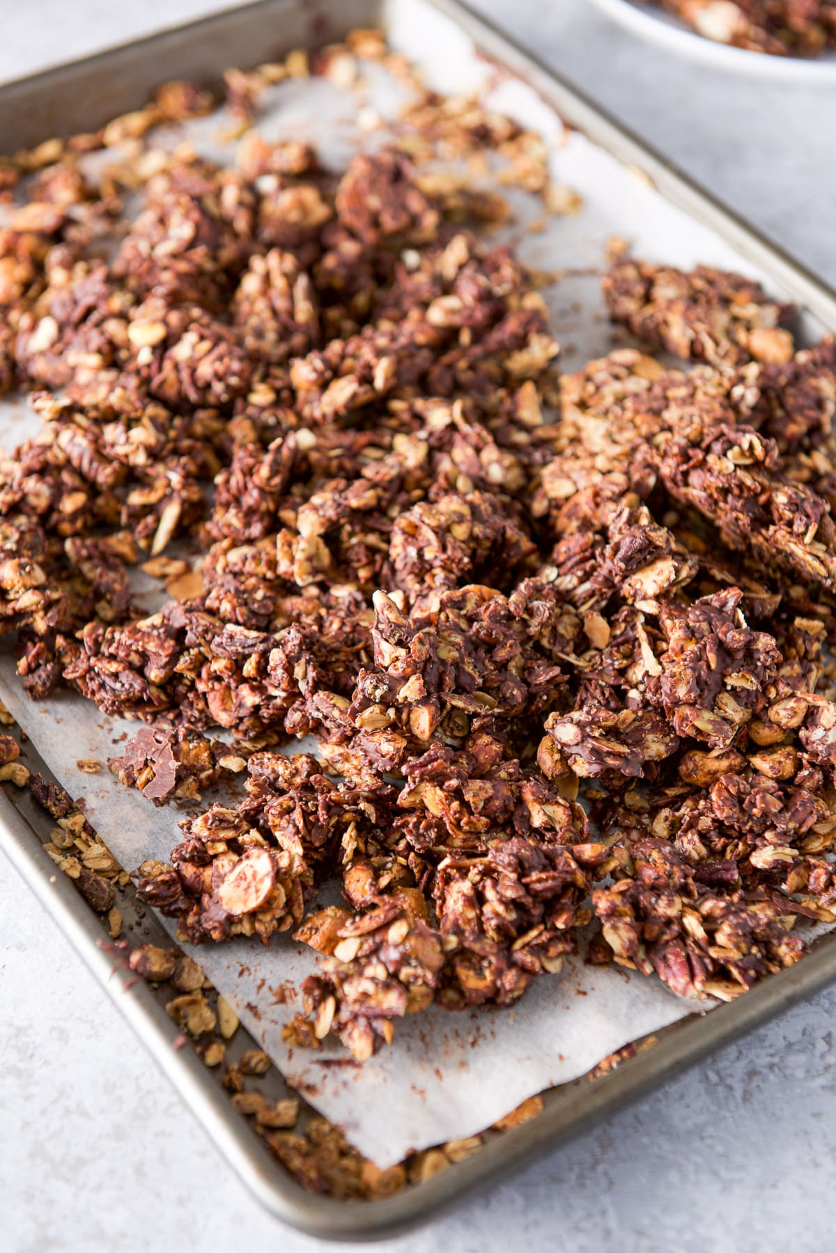 The chocolate firmed up on the granola and broken apart into clusters