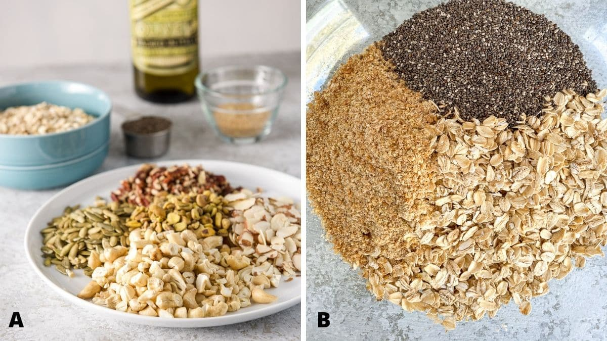 Left - A white plate with nuts and seeds, a bowl of oats, chia seeds, flax meal and oil. Right - Overhead view of a bowl with oats, chia seeds and the flax meal