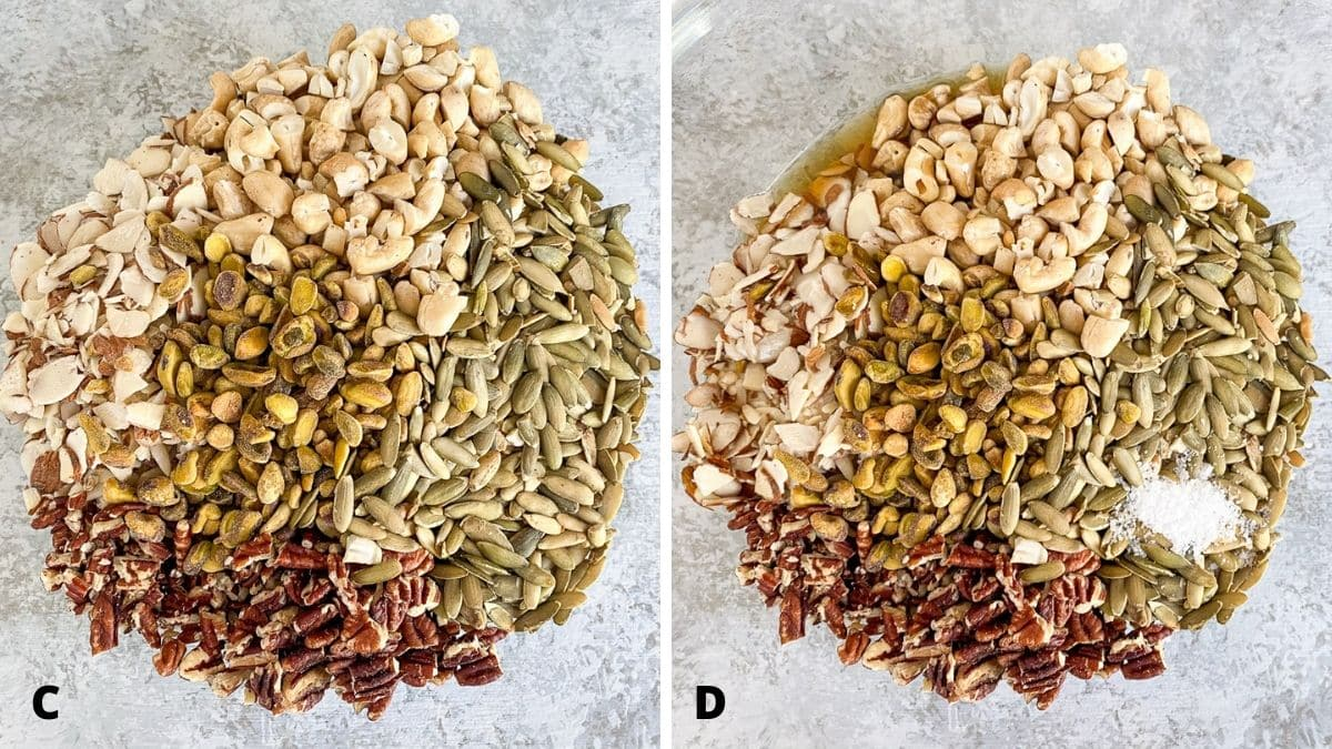Left - overhead view of the nuts and seeds added to the bowl. Right - Oil, maple syrup and salt added to the bowl