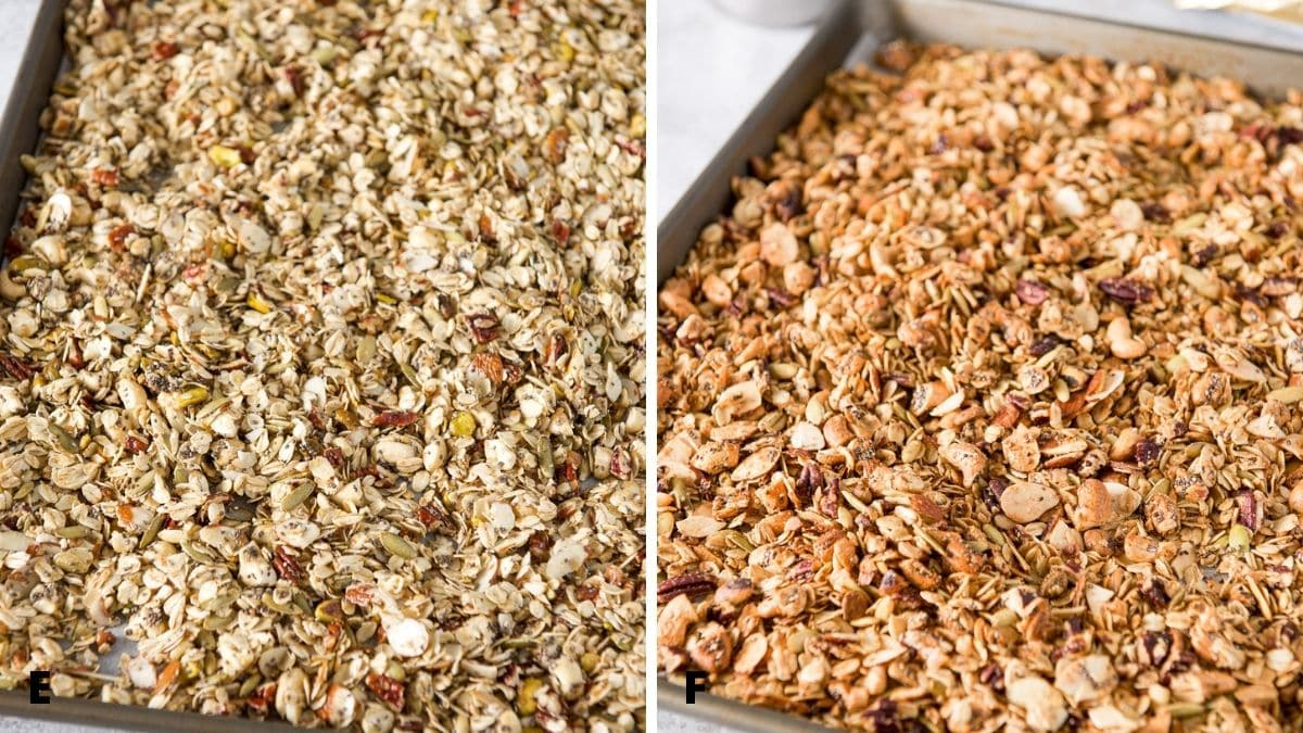 Left - the mixed granola spread on a jelly roll pan. Right - granola out of the oven but still in the pan