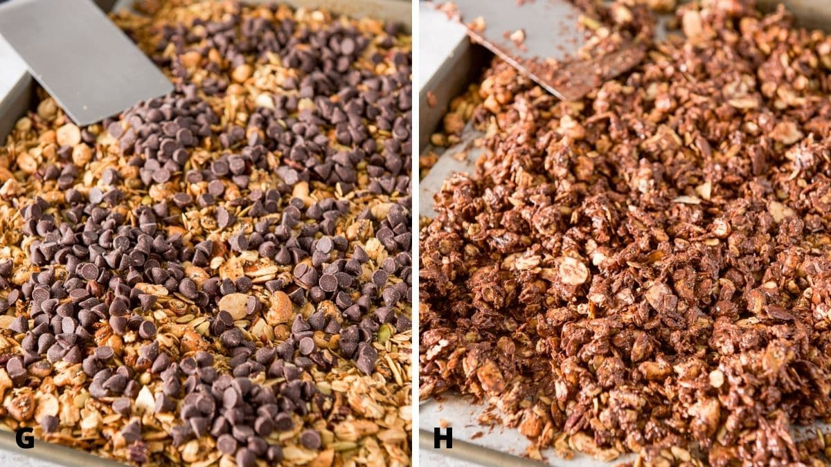 Left - chocolate chips added to the pan of granola. Right - the chocolate mixed with the granola