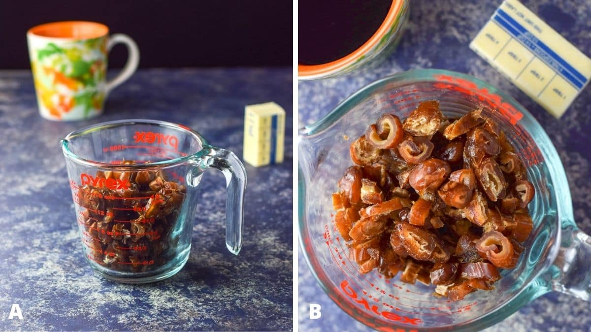 Left - cut up dates in a glass measuring cup, butter and a coffee mug. Right - overhead view of the same ingredients