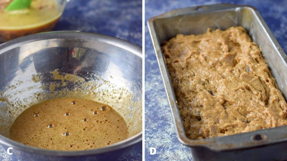 Left - metal bowl with coffee and hot water. Right - bread batter in a bread pan