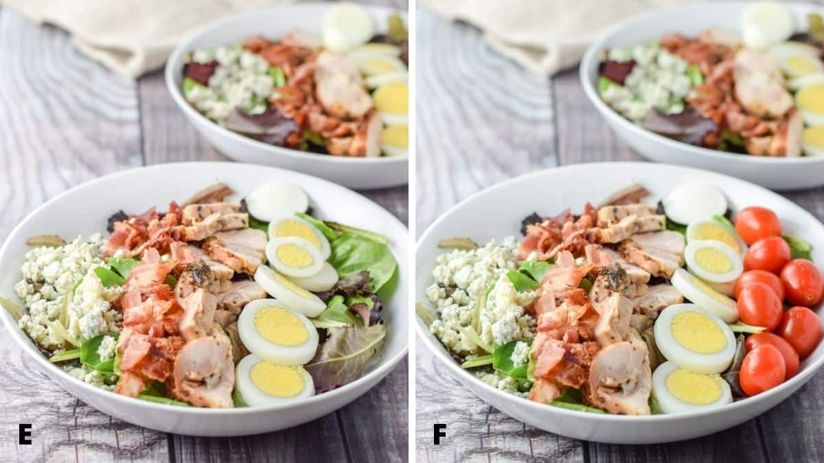 Left - Cheese added next to the bacon in the salad. Right - Tomatoes added to the salad in the white deep plates
