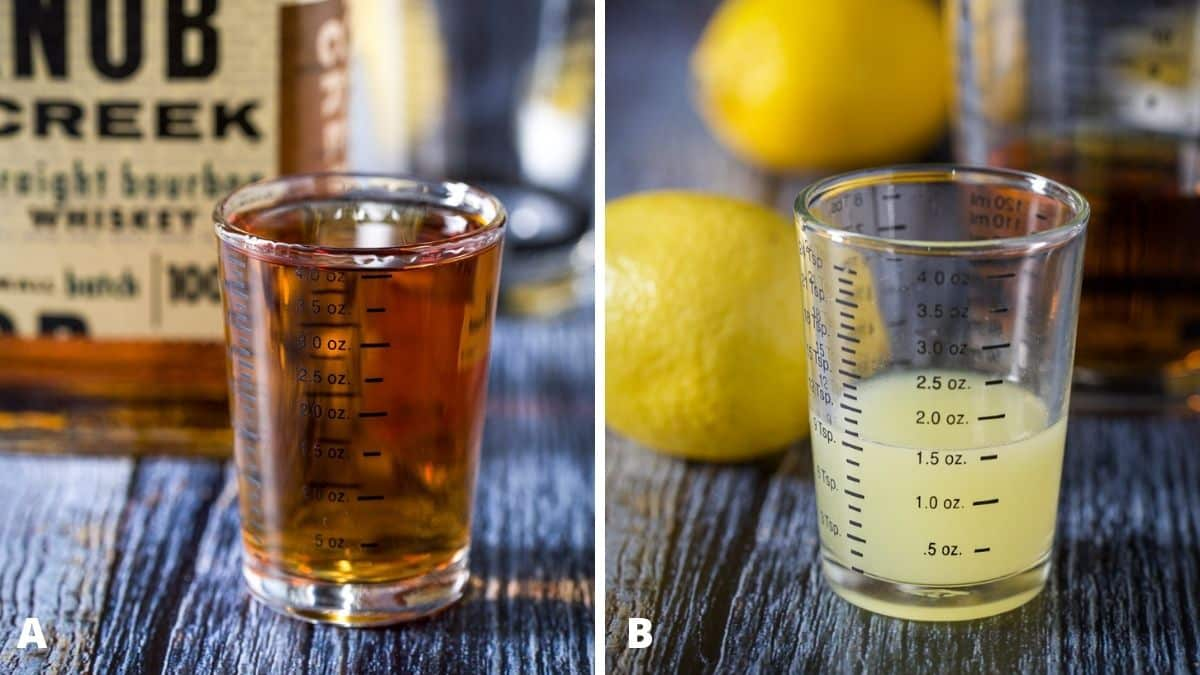 Bourbon and lemon juice measured with the fruit and bottle in the background