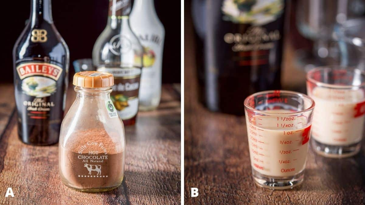 Left - cocoa, Irish cream, creme de cacao and coconut rum on a wooden table. Right - Irish cream poured out with the bottle in the background