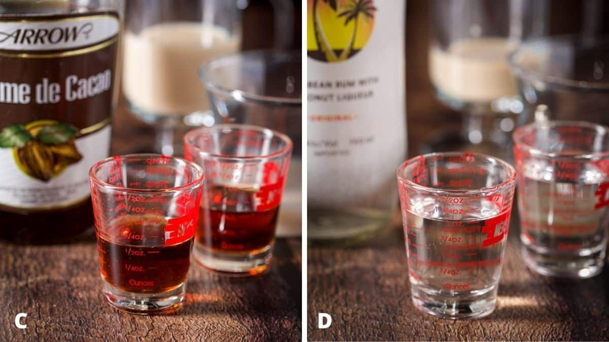 Left - creme de cacao measured out with bottle. Right - coconut rum measured with the bottle