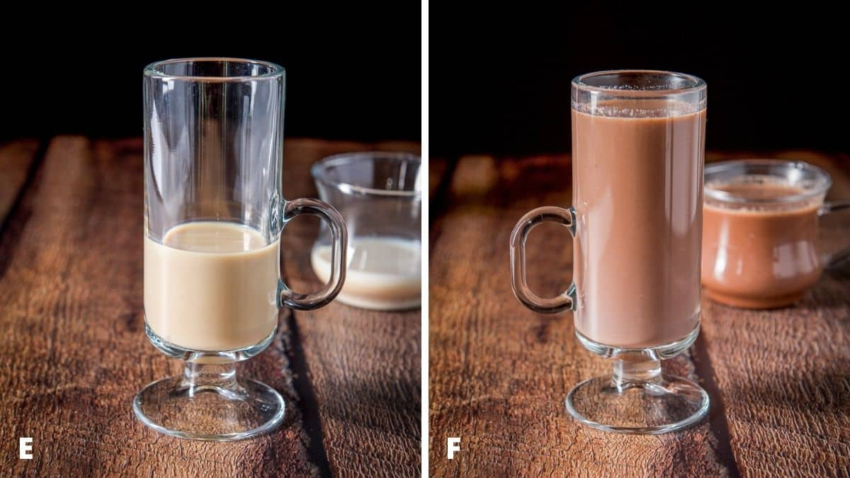 Left - ingredients in the mugs. Right - cocoa added to the glass mugs