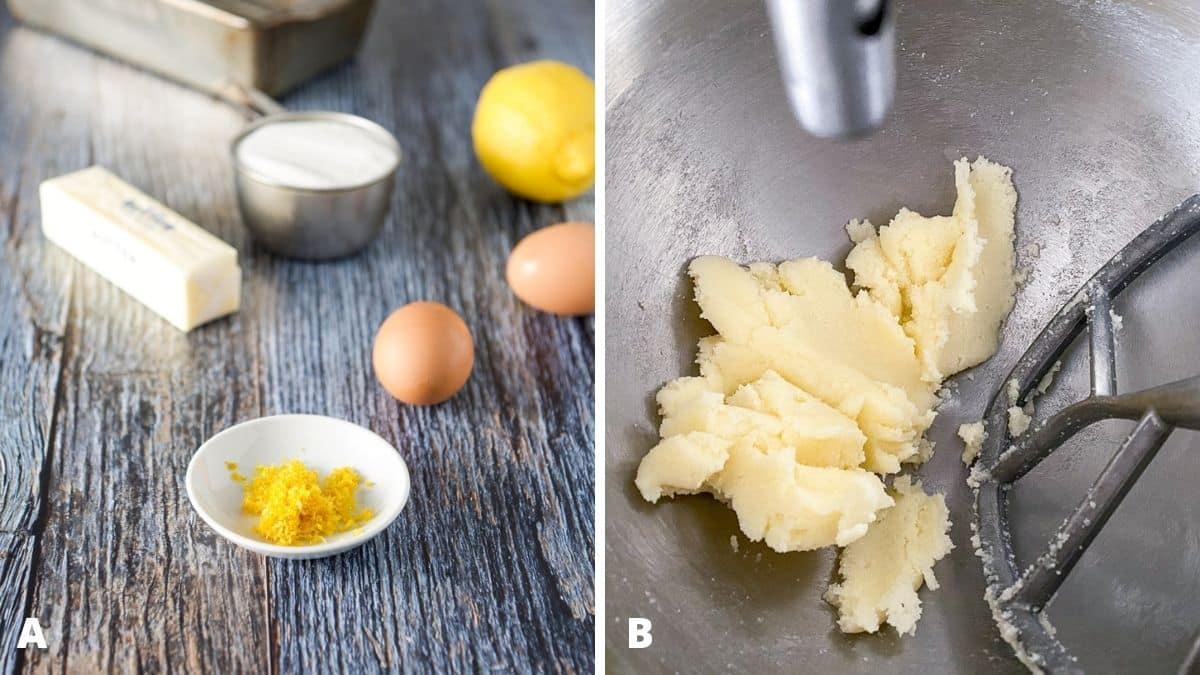 Left - lemon zest, eggs, butter, sugar and a lemon. Right - butter and sugar mixed