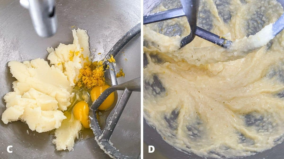 Left - eggs and zest added to the butter. Right - eggs and zest mixed in