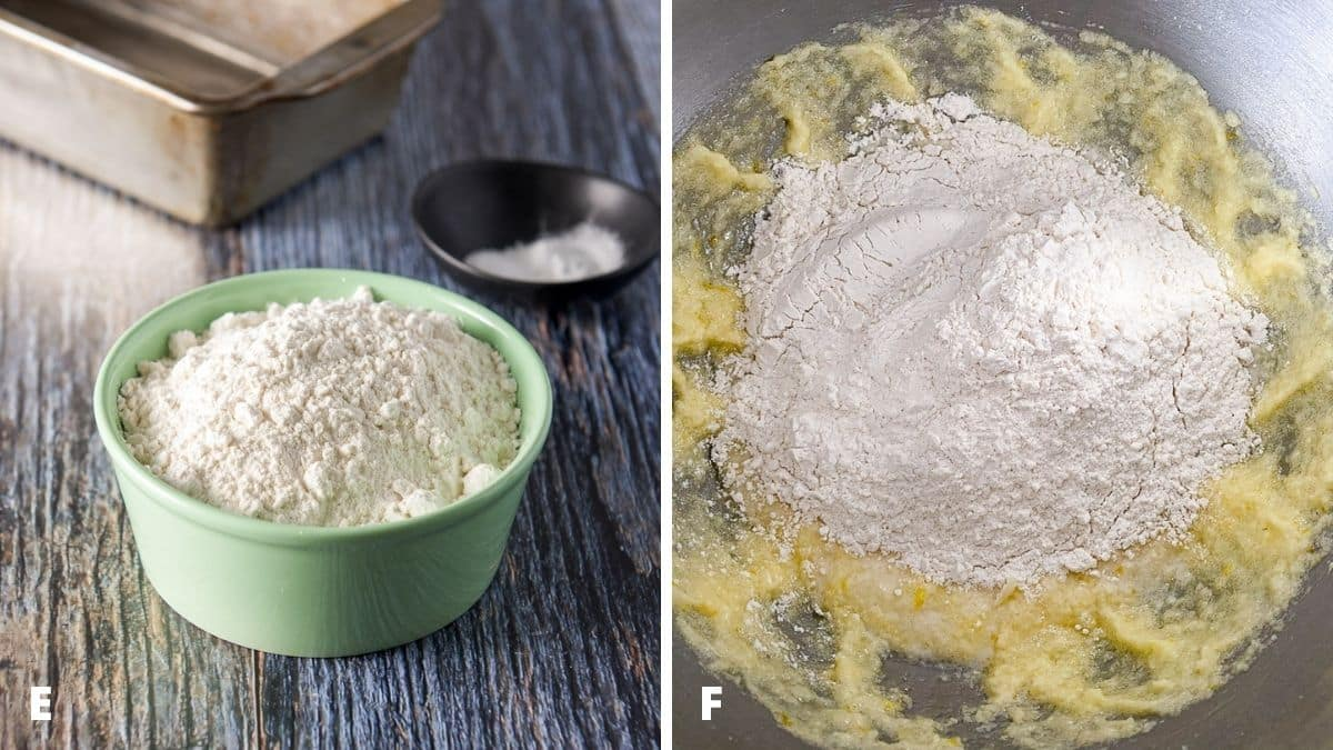 Left - flour, baking powder and salt. Right - flour added with milk to the mixer