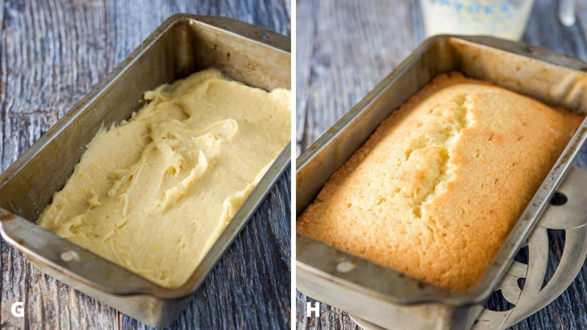 Left - bread batter added to the greased pan. Right - Bread fresh out of the oven