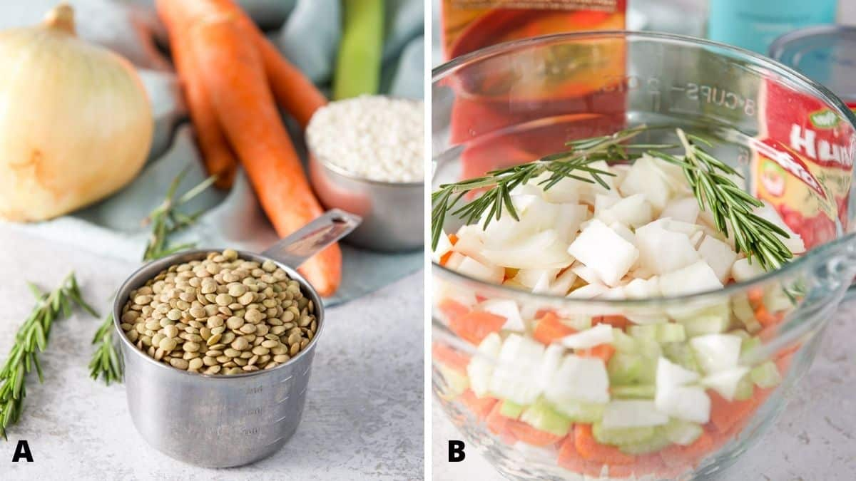 Left - lentils, rice, onion, carrots and celery. Right - glass bowl with chopped onions, carrots, celery, rosemary, diced tomatoes, broth and wine