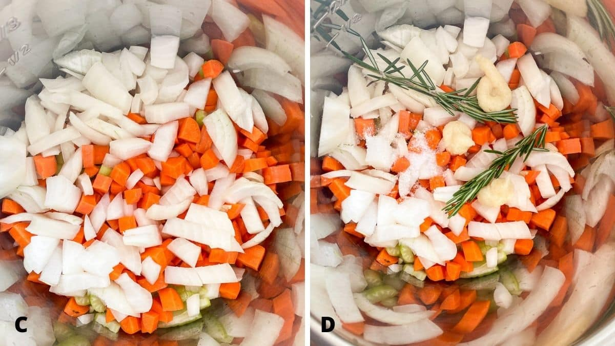 Left - overhead view of the vegetables in the pan. Right - overhead view of the pan of veggies with added rosemary, garlic and salt