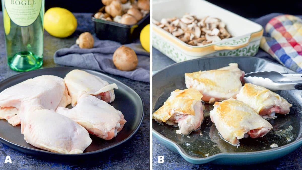 Left - chicken thighs, mushrooms, wine and lemon. Right - chicken thighs partially cooked in a skillet with a baking dish with mushrooms in it