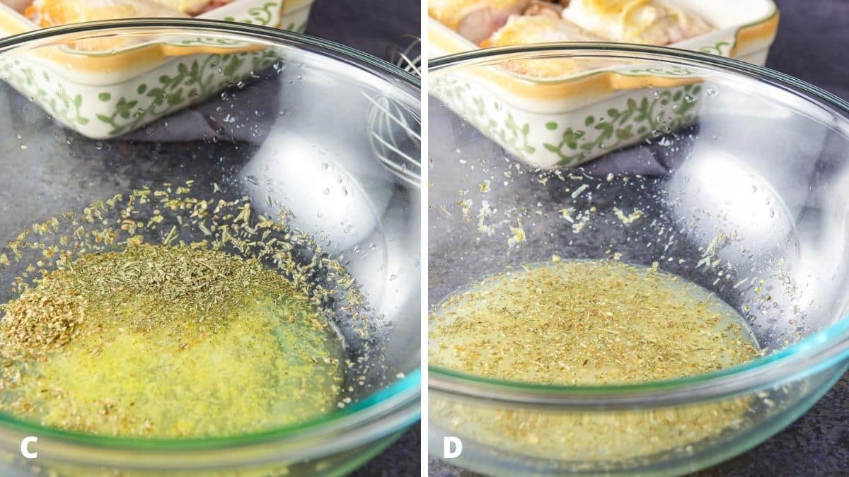 Left - lemon juice, garlic, herbs and wine added to a bowl. Right - sauce ingredients whisked together