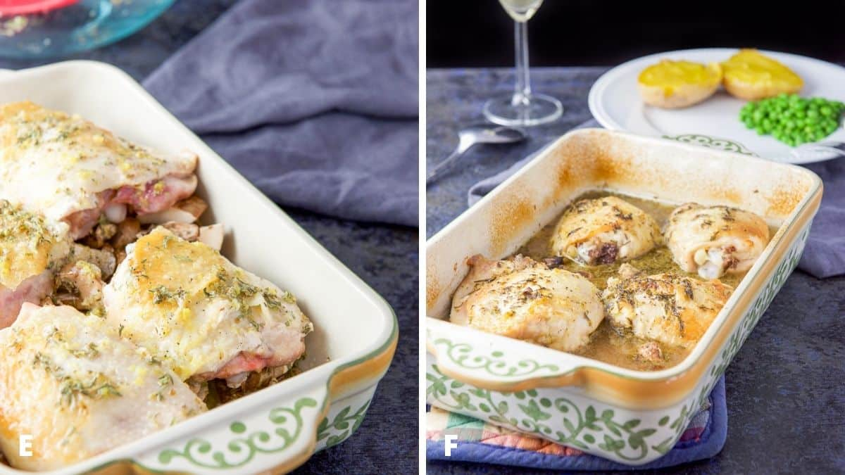 Left - The chicken, mushrooms and sauce in a baking dish. Right - the baking dish with the chicken right out of the oven