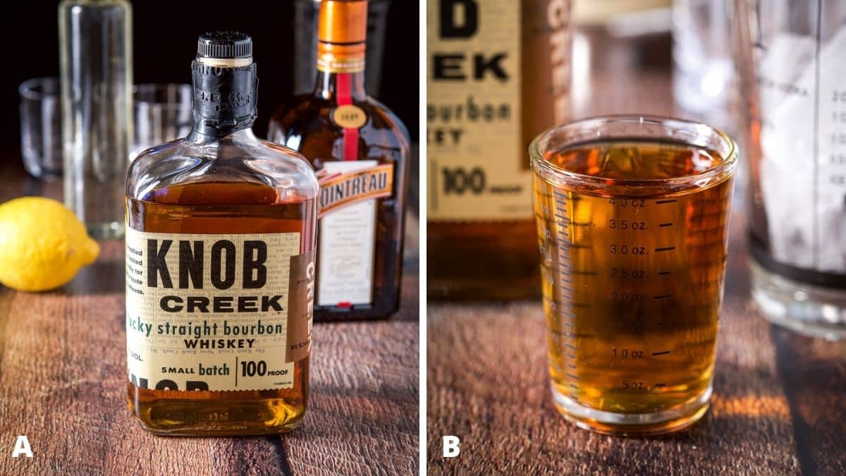 Left - bourbon, orange liqueur, lemon and simple syrup. Right - bourbon measured out with the bottle and shaker