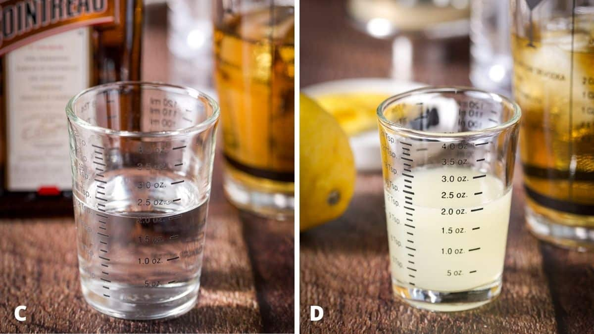 Left - orange liqueur measured with the bottle and shaker. Right - lemon juice measured with the fruit and shaker