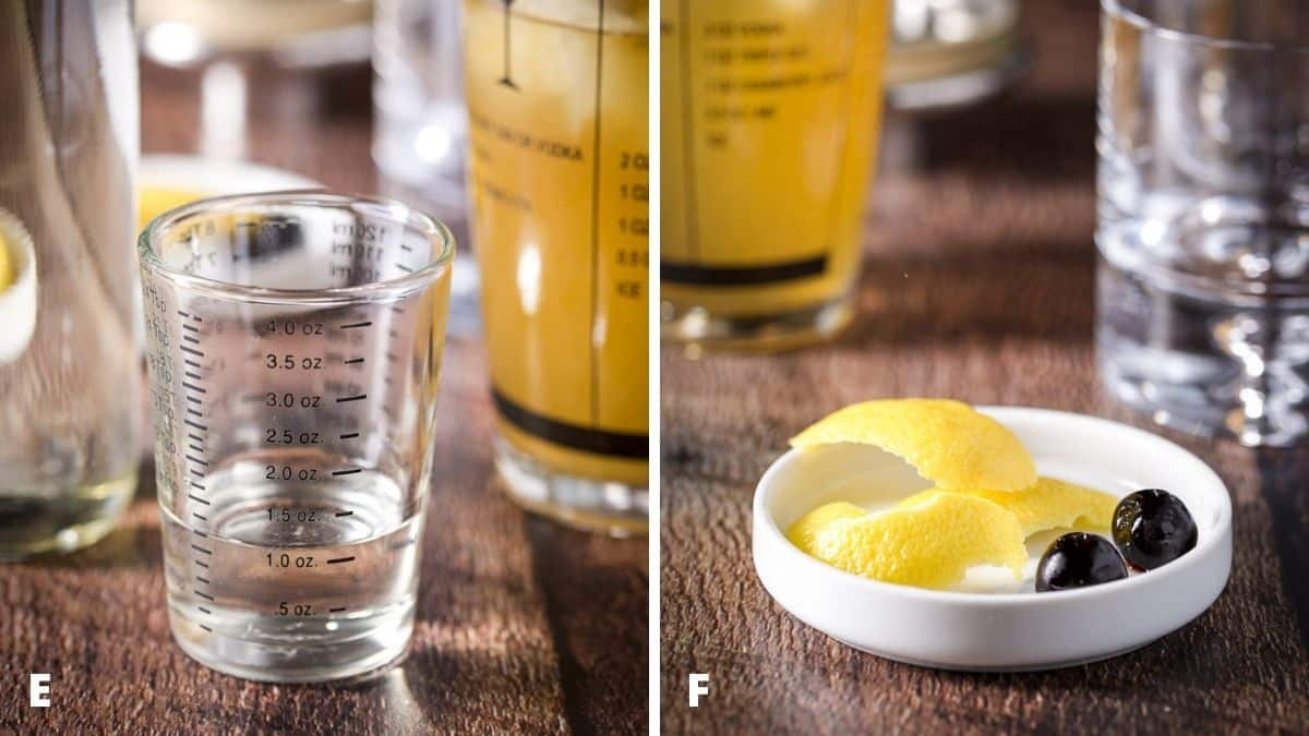 Left - simple syrup measured with the bottle and shaker. Right - white plate with lemon twists and cherries