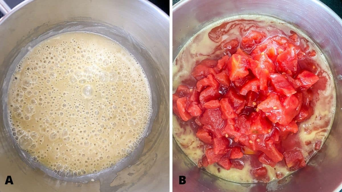 Left - a pan with oil and flour whisked and bubbly. Right - pan with diced tomatoes added to the roux