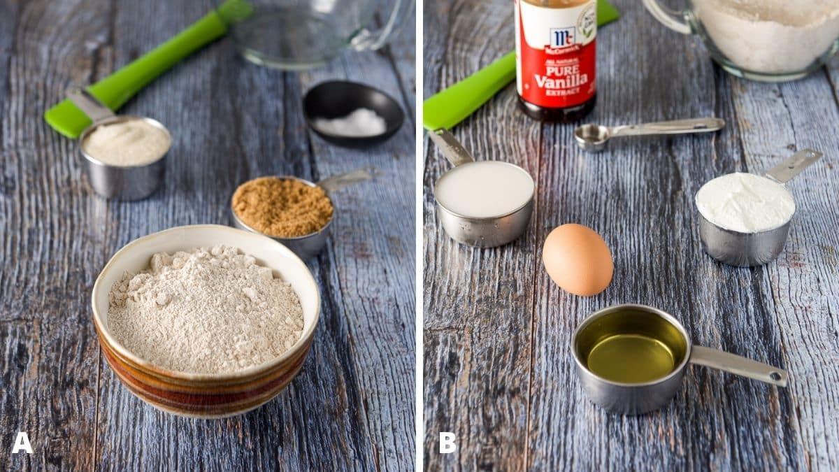 Left - flour, sugars, baking soda, salt and a bowl and spatula. Right - oil, egg, milk, yogurt and vanilla