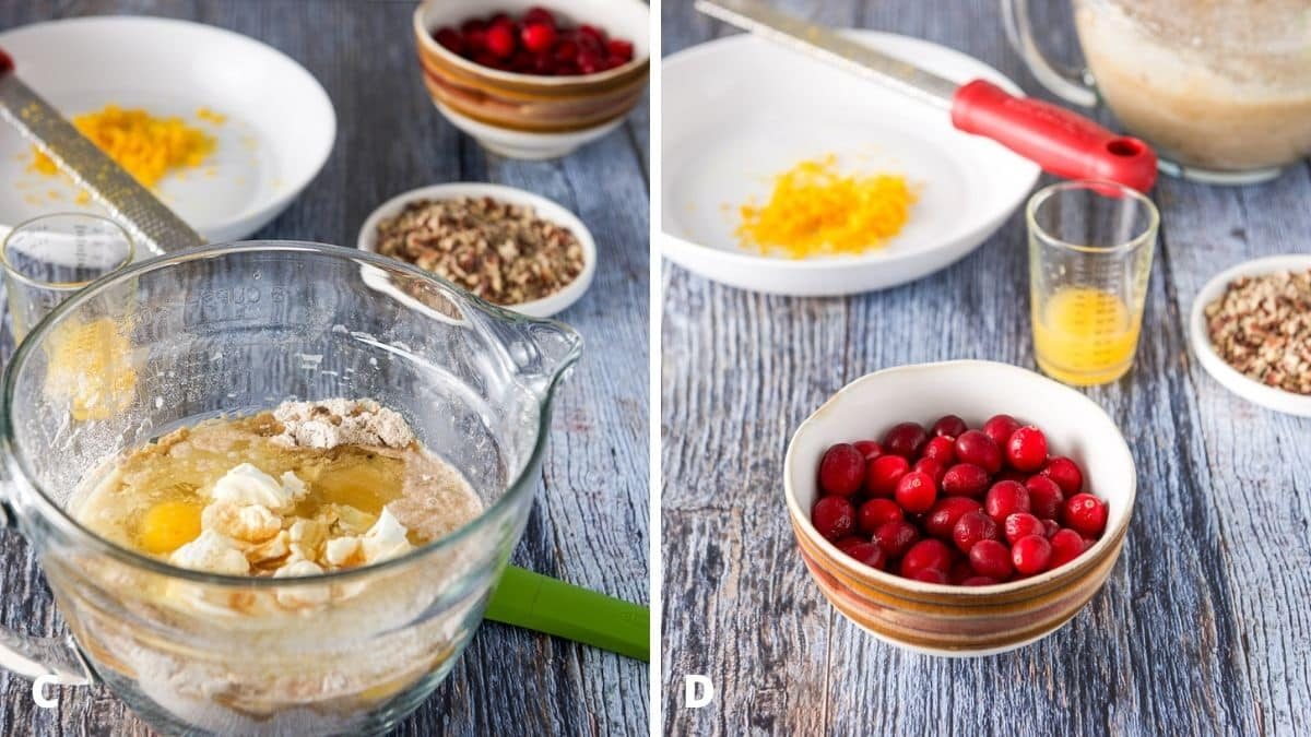 Left - A glass bowl with the wet ingredients in with the dry. Right - cranberries, orange juice, orange zest and nuts