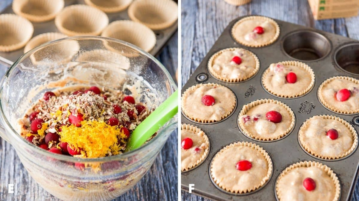 Left - the ingredients all in the bowl with a muffin tin in the back. Right - muffin batter in the muffin tins with a cranberry on each one