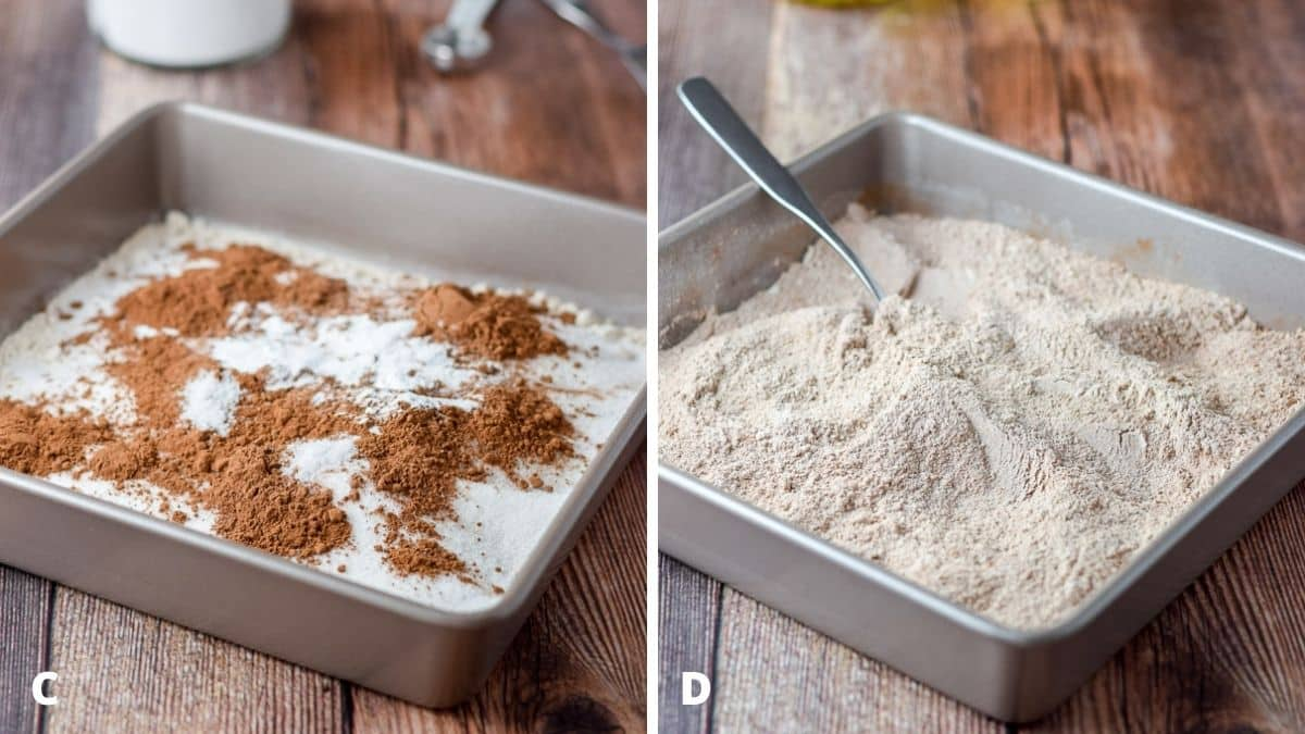 Left - cocoa powder and baking powder added to the pan. Right - the dry ingredients mixed with a fork