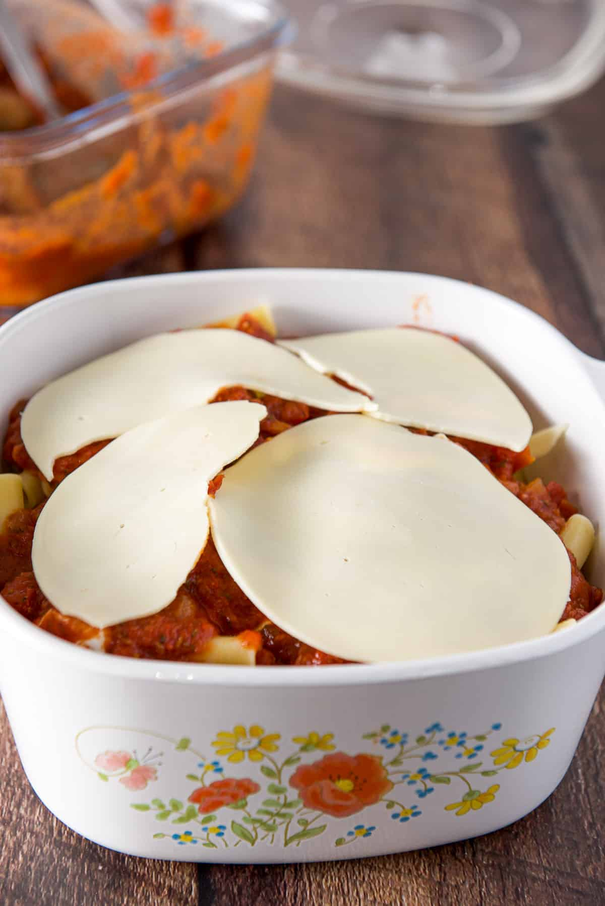 Cheese as the last layer in the casserole dish
