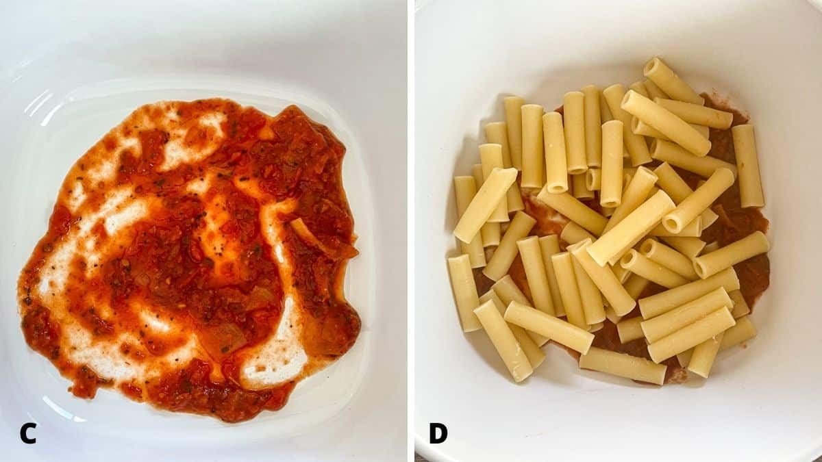 Left - red sauce in a casserole dish. Right - ziti on top of the gravy