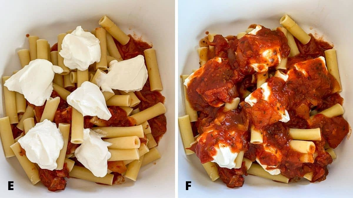 Left - Sour cream dolloped on the ziti. Right - red sauce spooned over the sour cream