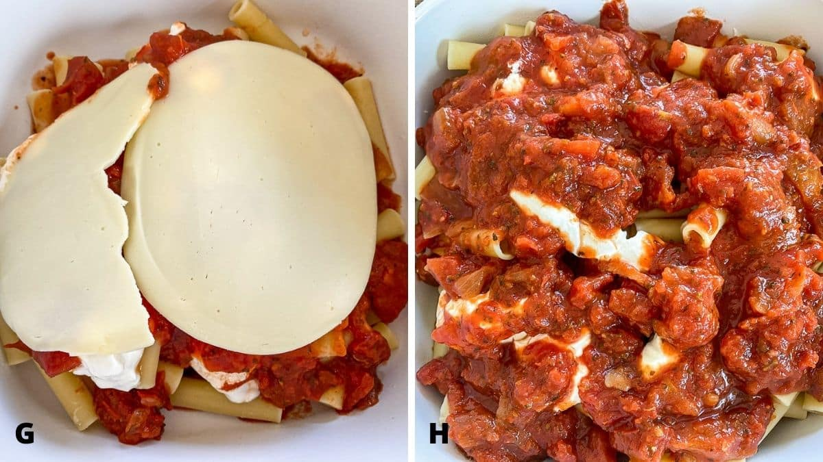 Left - gravy on the sour cream and cheese on top. Right - more layers of ziti, sour cream and gravy on top