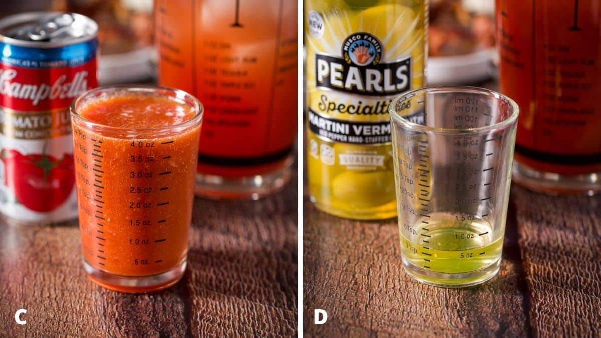 Left - tomato juice measured with the can and shaker behind it. Right - olive juice measured out with the bottle and shaker behind