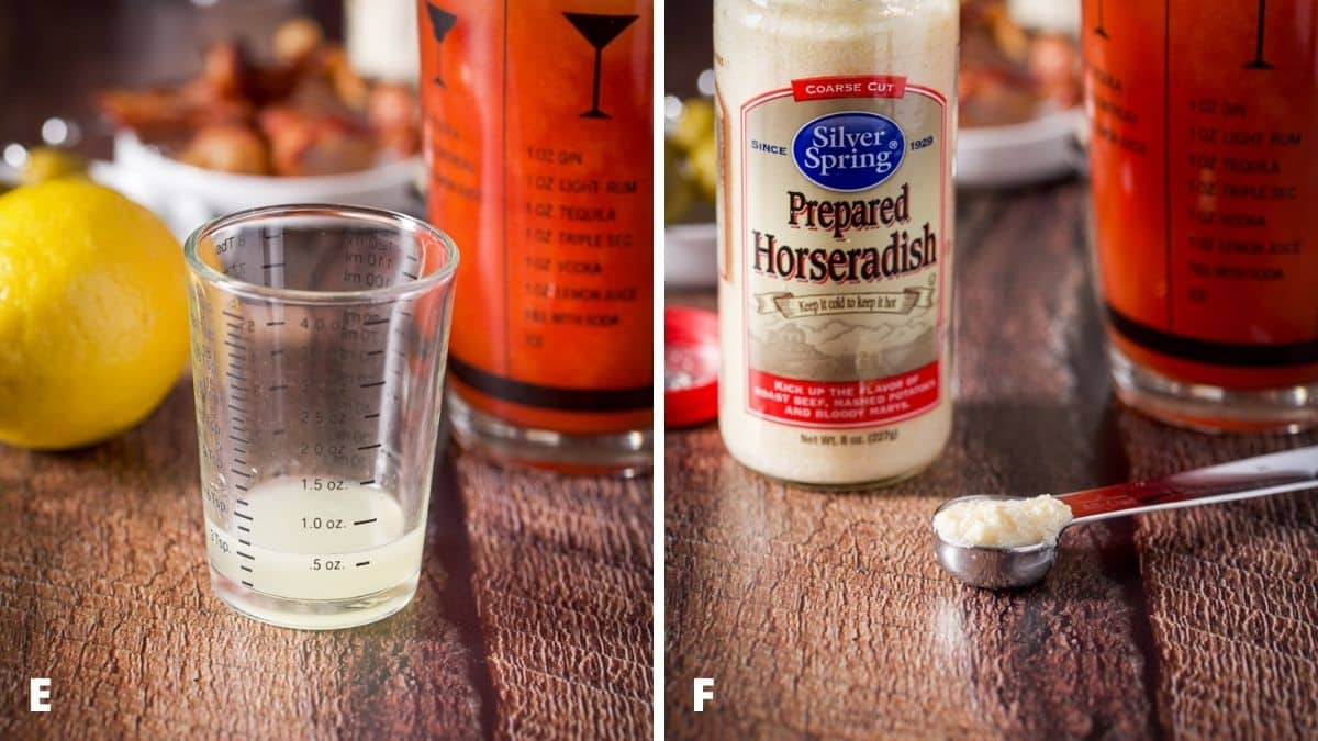 Left - lemon measured out with the lemon and shaker behind. Right - horseradish in a teaspoon with the jar behind it