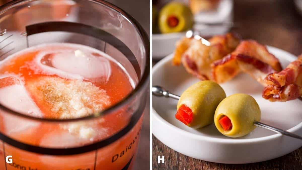 Left - horseradish, tabasco and Worcestershire sauce in the shaker. Right - a white plate with two olives and bacon on skewers