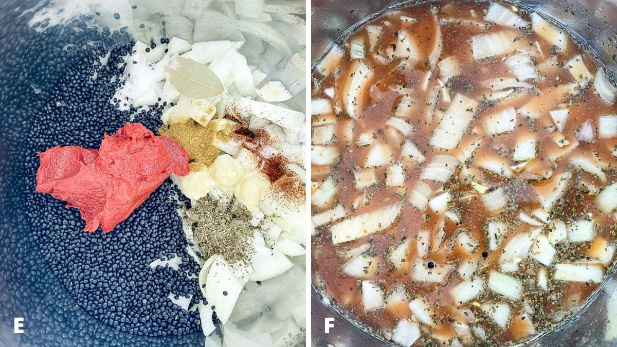 Left - tomato paste added to the lentils. Right - broth added with the lentils and stirred