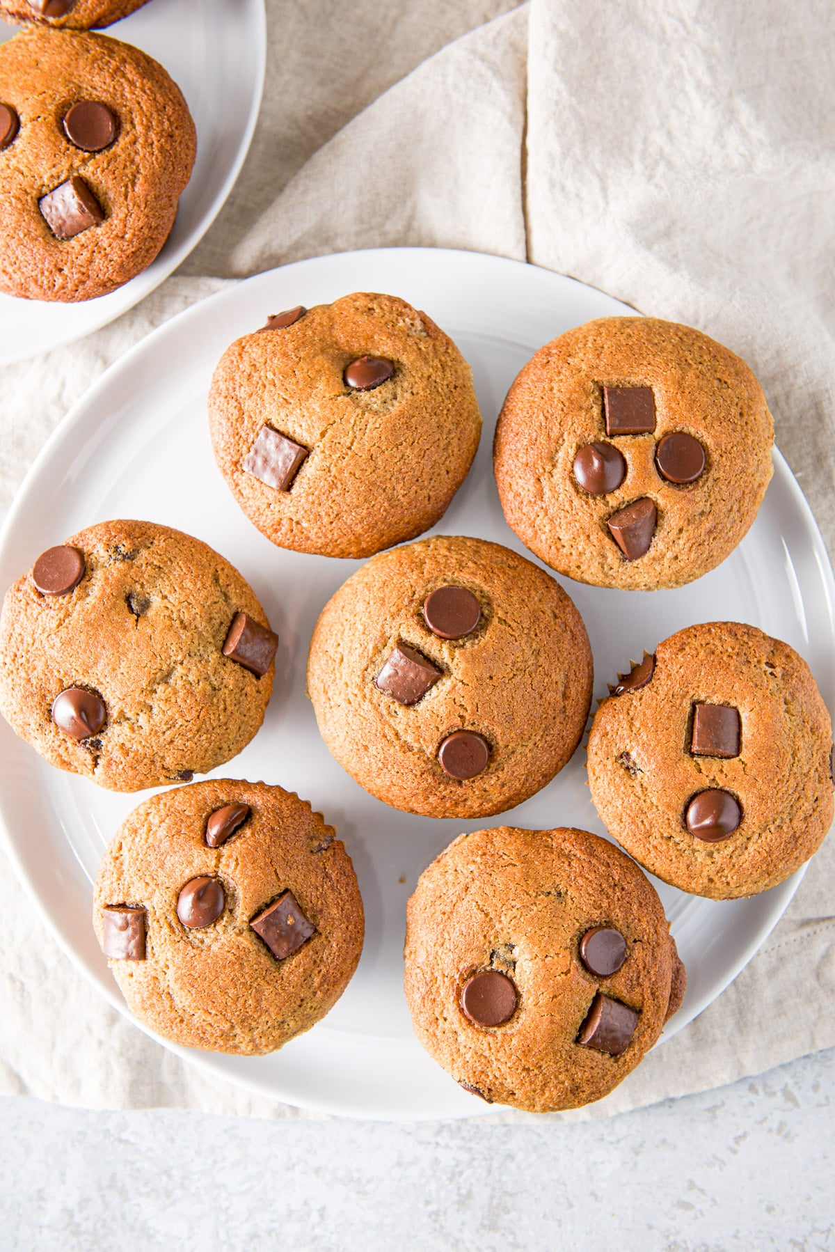 Overhead view of chocolate chip muffins on a plate