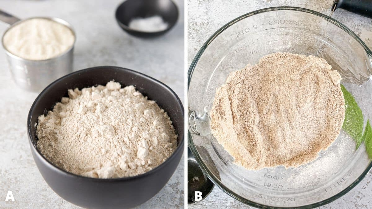 Left - flour in a black bowl, sugar and baking soda behind. Right - glass bowl filled with the dry ingredients