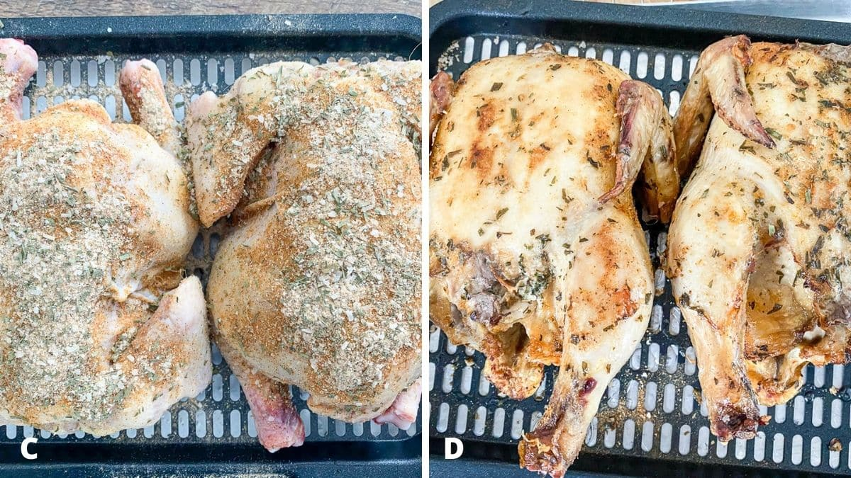 Left - two raw hens with a rub on them. Right - two partially cooked hens on a metal grate