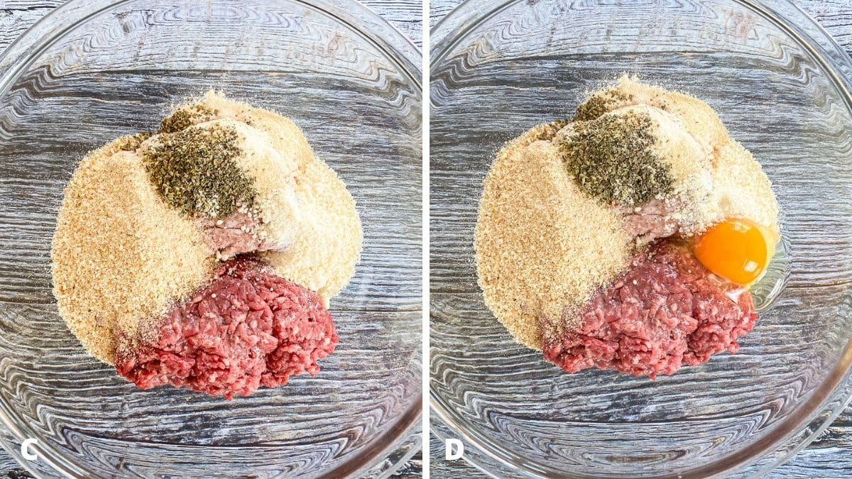 Left - glass bowl with beef, pork, breadcrumbs, parm cheese and herbs and spices. Right - bowl with the egg added