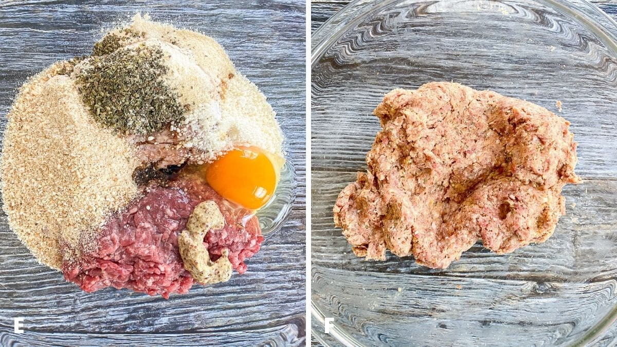 Left - all the ingredients for the meatballs plus the mustard in a bowl. Right - the ingredients mixed together in the bowl