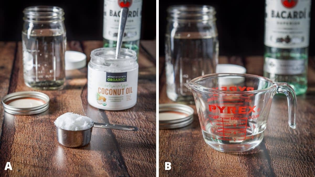 Left - coconut oil, a jar of rum with the bottles in the back. Right - coconut oil melted in a glass measuring cup with the jar of rum and bottle in the back