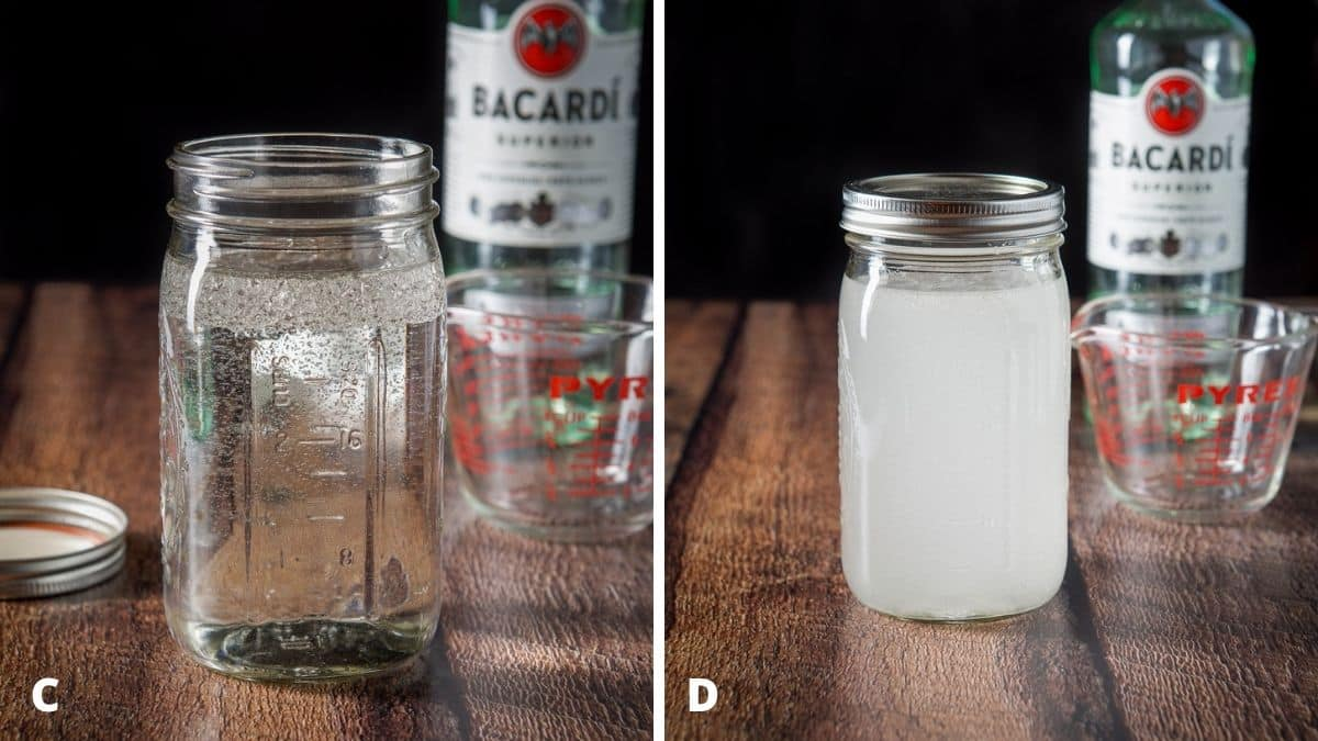 Left - coconut oil poured into the jar of rum with the glass and bottle in the back. Right - the jar with rum and coconut oil capped and shaken