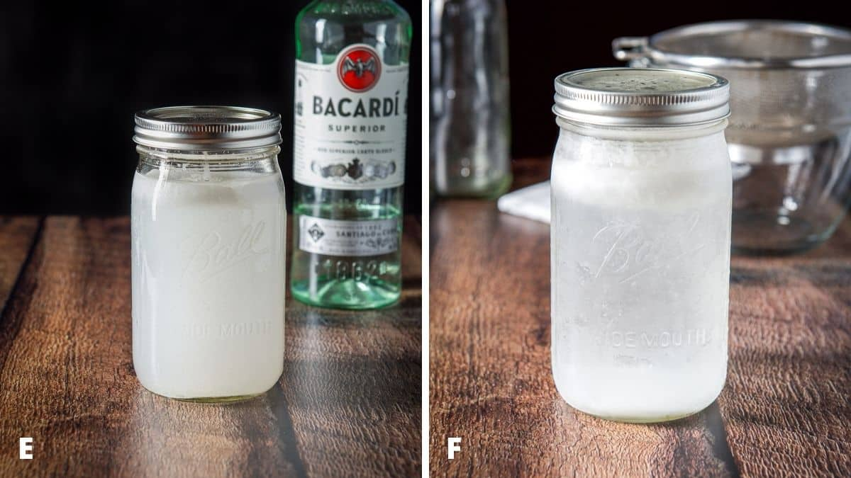 Left - capped jar with rum and oil that has sat on the counter for hours. Right - jar of coconut rum fresh out of the freezer